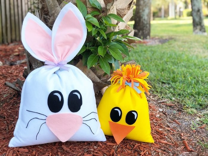 bunny and chick bean bags craft idea