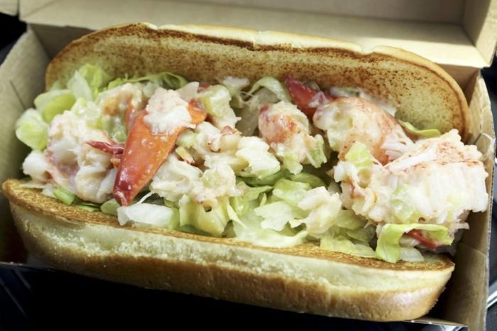 A McLobster sandwich in Nova Scotia. The lobster roll sandwiches are served at fast food restaurants in Atlantic Canada.