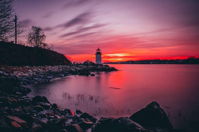 Fort Pickering (Winter Island) Lighthouse at sunrise Located in Salem, Massachusetts