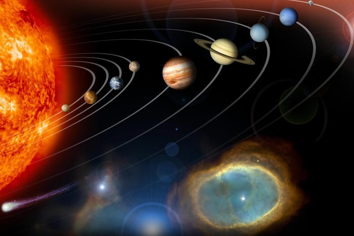 This image is an unannotated version of NASA Planetary Photojournal Home Page graphic. This digital collage contains a highly stylized rendition of our solar system and points beyond.