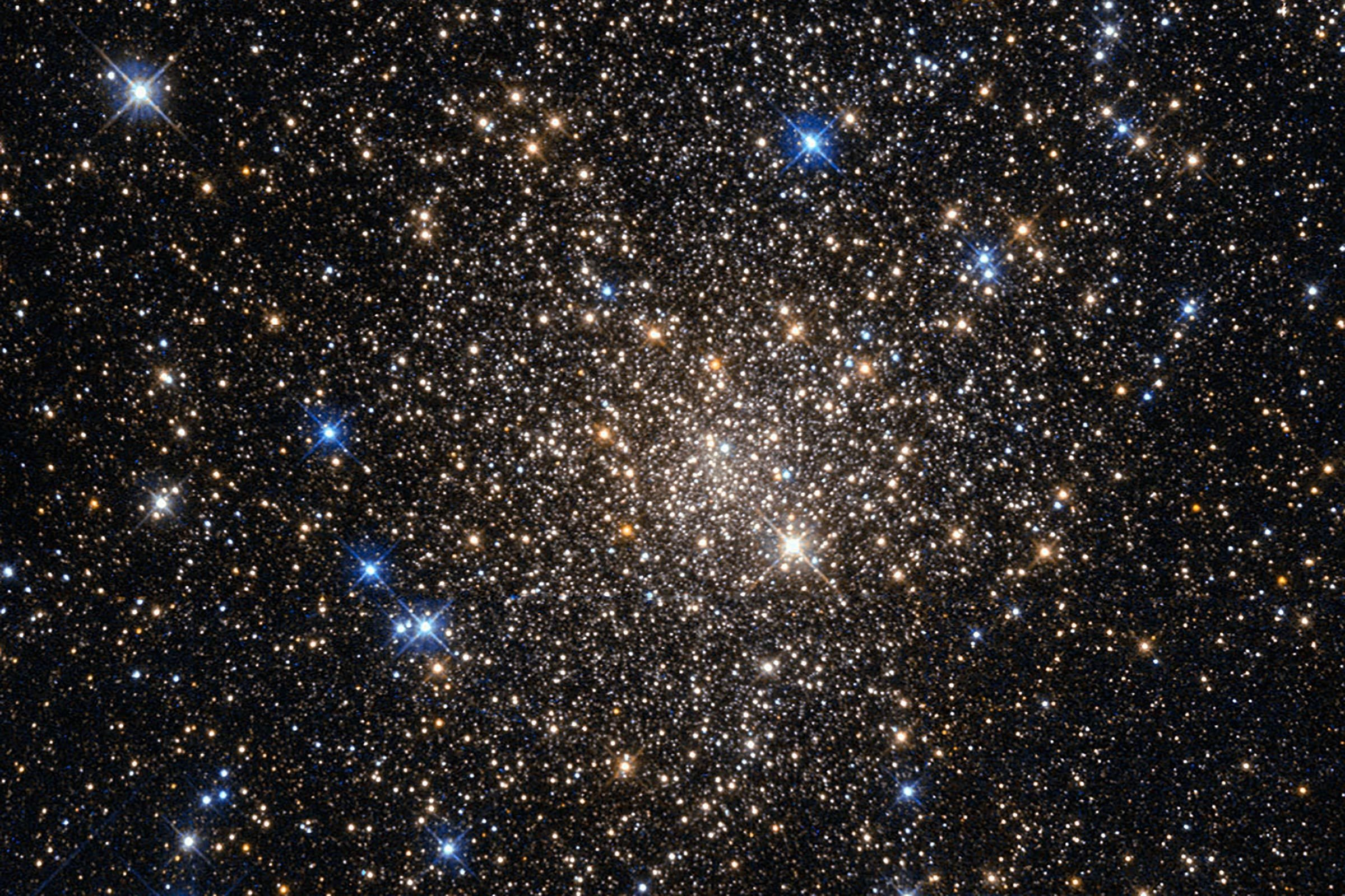 This image, taken with the Wide Field Planetary Camera 2 on board the NASA/ESA Hubble Space Telescope, shows the globular cluster Terzan 1. Lying around 20,000 light-years from us in the constellation of Scorpius (The Scorpion), it is one of about 150 globular clusters belonging to our galaxy, the Milky Way. Typical globular clusters are collections of around a hundred thousand stars, held together by their mutual gravitational attraction in a spherical shape a few hundred light-years across. It is thought that every galaxy has a population of globular clusters. Some, like the Milky Way, have a few hundred, while giant elliptical galaxies can have several thousand. They contain some of the oldest stars in a galaxy, hence the reddish colors of the stars in this image — the bright blue ones are foreground stars, not part of the cluster. The ages of the stars in the globular cluster tell us that they were formed during the early stages of galaxy formation! Studying them can also help us to understand how galaxies formed. Terzan 1, like many globular clusters, is a source of X-rays. It is likely that these X-rays come from binary star systems that contain a dense neutron star and a normal star. The neutron star drags material from the companion star, causing a burst of X-ray emission. The system then enters a quiescent phase in which the neutron star cools, giving off X-ray emission with different characteristics, before enough material from the companion builds up to trigger another outburst.