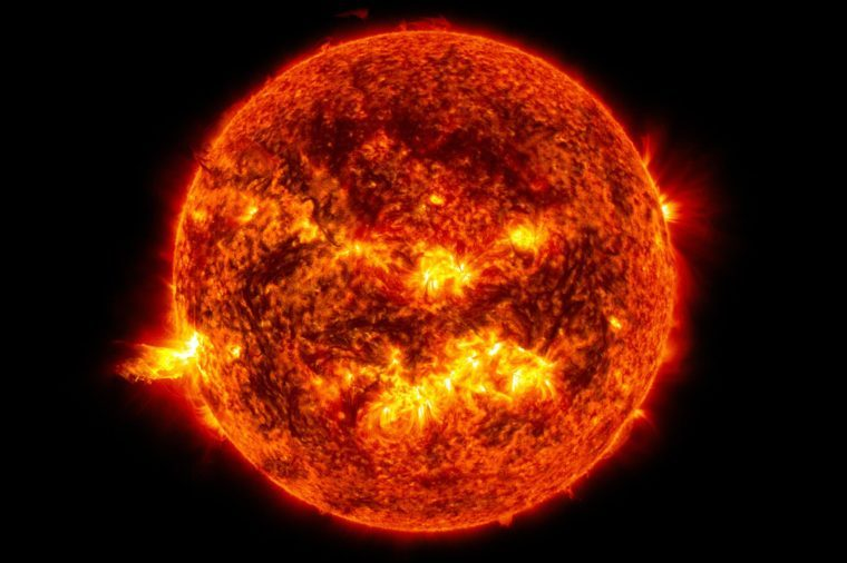 This image from June 20, 2013, at 11:15 p.m. EDT shows the bright light of a solar flare on the left side of the sun and an eruption of solar material shooting through the sun's atmosphere, called a prominence eruption. Shortly thereafter, this same region of the sun sent a coronal mass ejection out into space. --- On June 20, 2013, at 11:24 p.m., the sun erupted with an Earth-directed coronal mass ejection or CME, a solar phenomenon that can send billions of tons of particles into space that can reach Earth one to three days later. These particles cannot travel through the atmosphere to harm humans on Earth, but they can affect electronic systems in satellites and on the ground. Experimental NASA research models, based on observations from NASA's Solar Terrestrial Relations Observatory and ESA/NASA's Solar and Heliospheric Observatory show that the CME left the sun at speeds of around 1350 miles per second, which is a fast speed for CMEs. Earth-directed CMEs can cause a space weather phenomenon called a geomagnetic storm, which occurs when they funnel energy into Earth's magnetic envelope, the magnetosphere, for an extended period of time. The CME's magnetic fields peel back the outermost layers of Earth's fields changing their very shape. Magnetic storms can degrade communication signals and cause unexpected electrical surges in power grids. They also can cause aurora. Storms are rare during solar minimum, but as the sun's activity ramps up every 11 years toward solar maximum – currently expected in late 2013 -- large storms occur several times per year. In the past, geomagnetic storms caused by CMEs of this strength and direction have usually been mild.