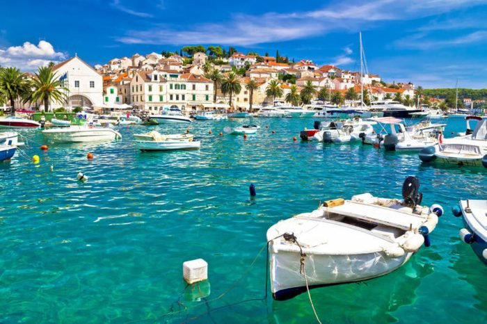 Turquoise waterfront of Hvar island in Dalmatia, Croatia