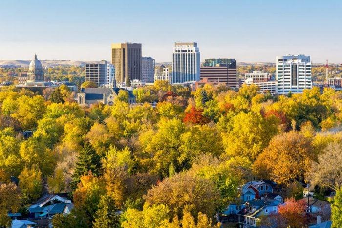 Unique view of Boise Idaho in autumn