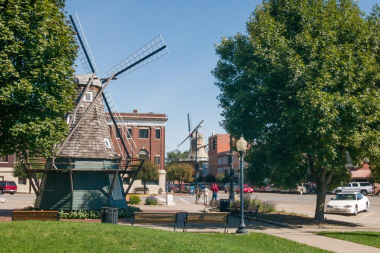 Windmill at Dutch village Pella in Iowa, USA
