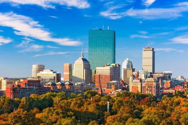 Boston, Massachusetts, USA skyline over Boston Common.