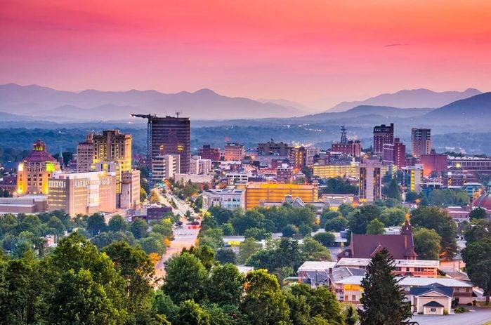Asheville, North Carolina, USA at twilight.