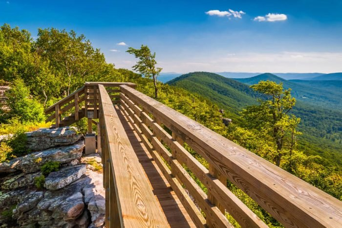 Walking bridge and view of the Appalachians from Big Schloss, in George Washington National Forest, VA.
