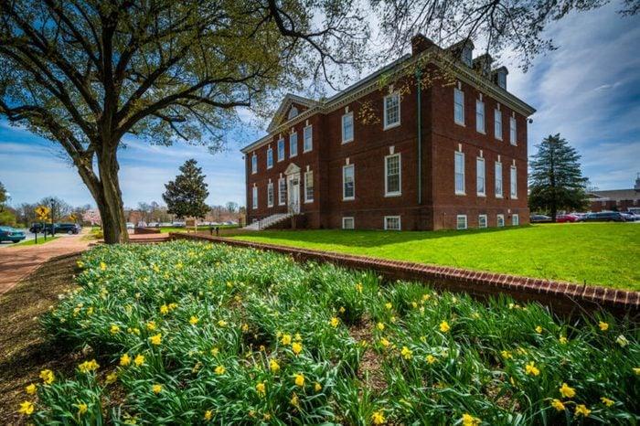 Gardens and the Tatnall Building in Dover, Delaware.