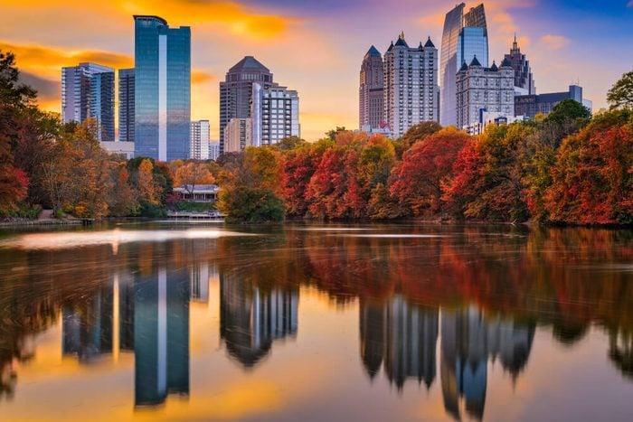 Atlanta, Georgia, USA Piedmont Park skyline in autumn.