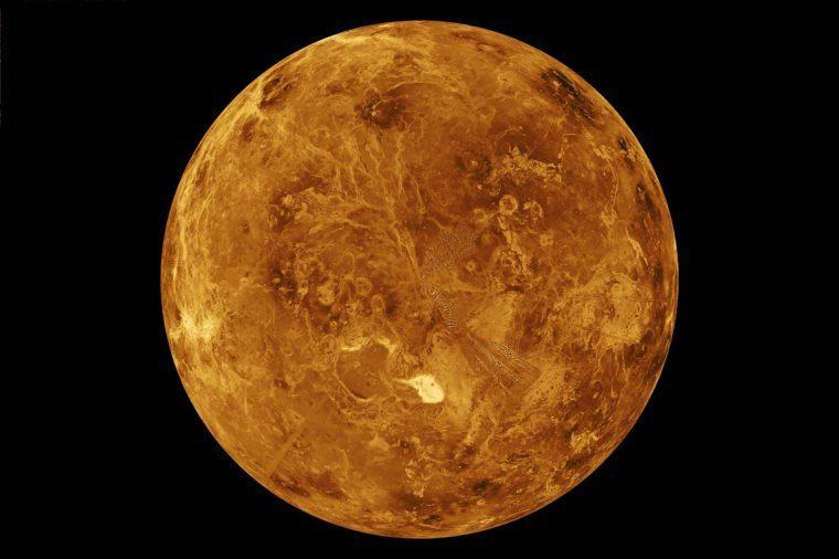The northern hemisphere is displayed in this global view of the surface of Venus as seen by NASA Magellan spacecraft.