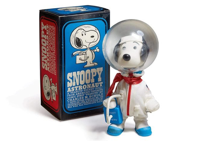 A handout photo made available by Sotheby's on 14 July 2017 showing a signed 'Snoopy' astronaut doll, which was the mascot of the Apollo 10 LM crew, with the original display box, to be auctioned on 20 july 2017 at Sotheby's in New York City, USA. The doll is expected to 2,000 to 3,000 US Dollars (about 1750 to 2600 euros).
