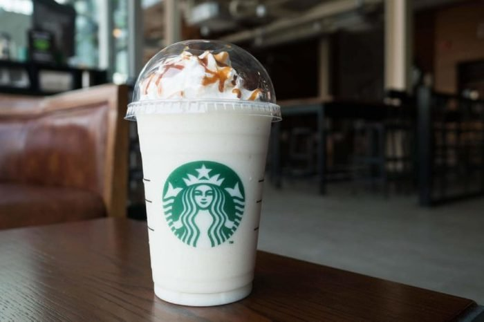 Bangkok, Thailand - Jan 29, 2017 : A cup of Starbuck Coffee Beverages. Chestnut white chocolate truffle frappuccino.