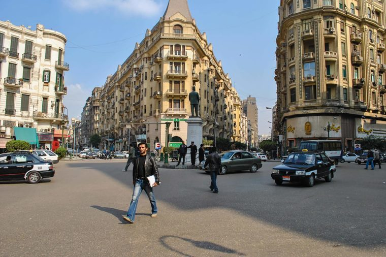 Cairo, Egypt - January 20, 2011: Talaat Harb Square in Cairo