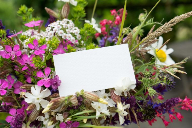 Colorful bouquet with meadow flowers and card / colorful meadow flowers / flowers