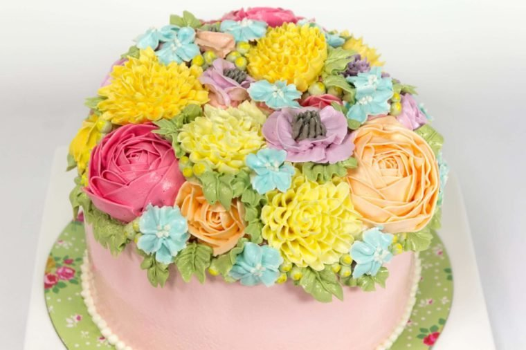 Beautiful decorative cake with flowers