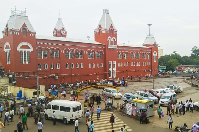 CHENNAI, INDIA - JUNE 29, 2016: Crowded square in front of the Central Train station during the day.
