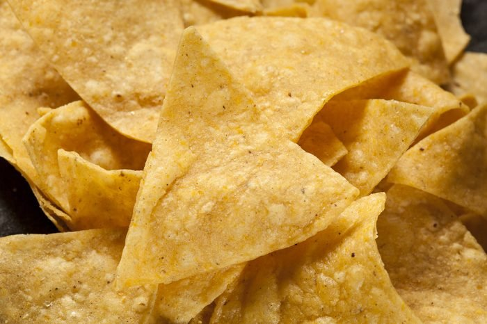 Brown Corn Tortilla Chips in a Pile