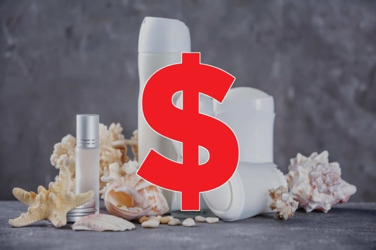 perfume and deodorant with seashells with dollar sign overlay