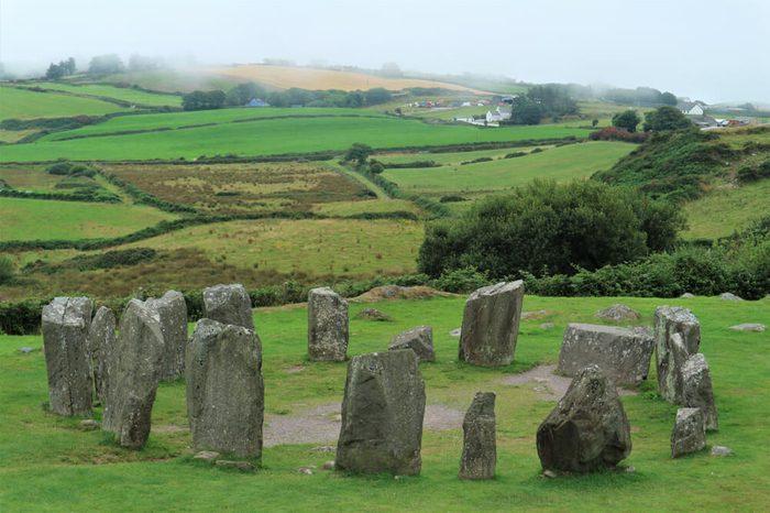 Drombeg stone circle in Ireland, county Cork