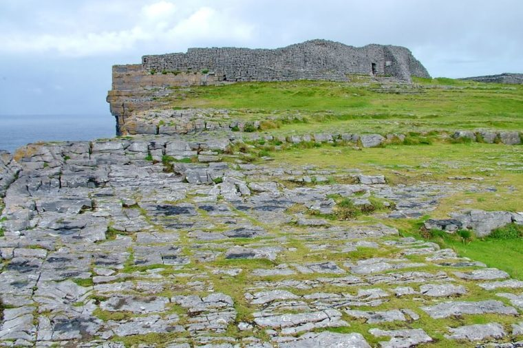 Dún Aonghasa the largest prehistoric stone fort on Inishmore in the Aran Islands, County Galway, Republic of Ireland.