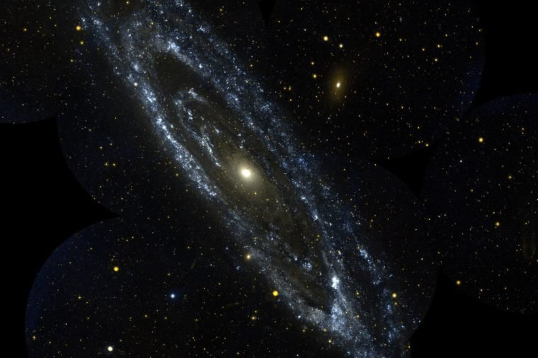 This image is from NASA Galaxy Evolution Explorer is an observation of the large galaxy in Andromeda, Messier 31. The Andromeda galaxy is the most massive in the local group of galaxies that includes our Milky Way.