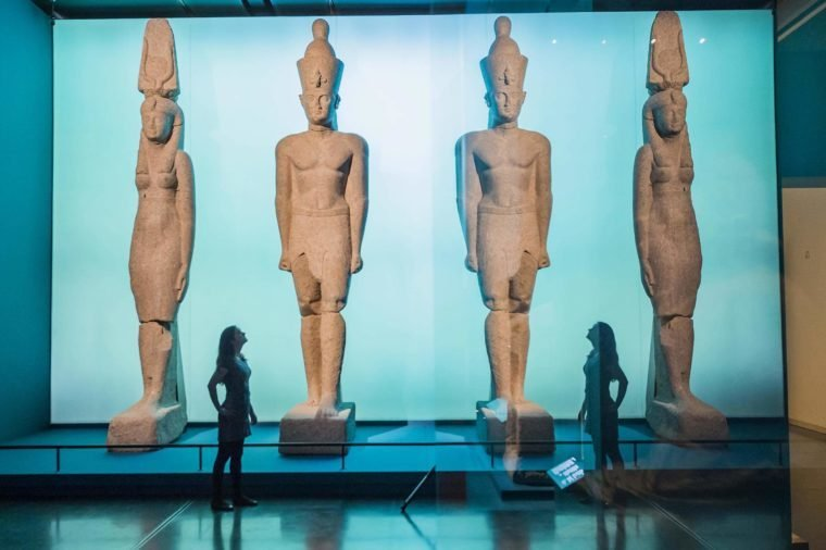 Giant statues of a Ptolemaic King and a Queen - Sunken cities: Egypt's lost worlds - The Museum's first large-scale exhibition on underwater archaeology.