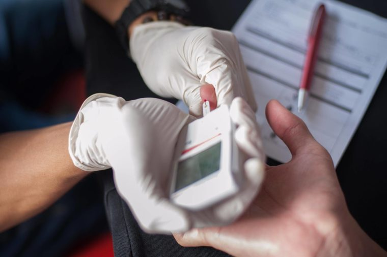 Testing blood sugar because of anxiety about diabetes