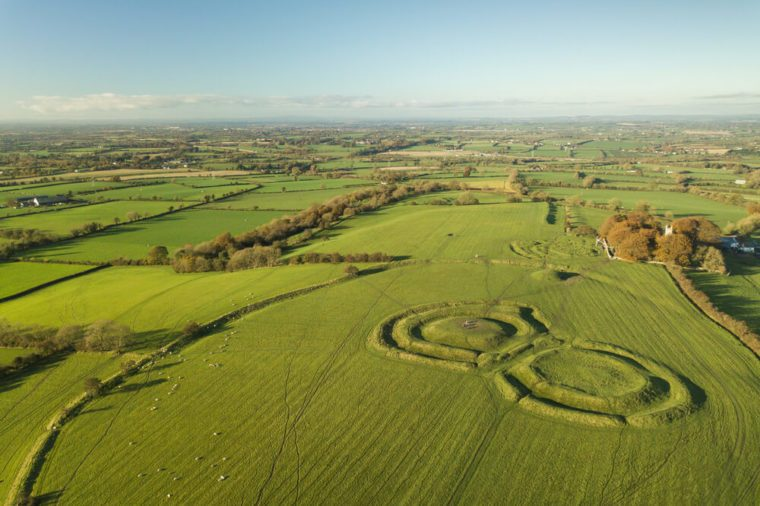 Hill of Tara aerial view. Ireland, Co. Meath. October 2017