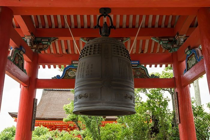 KYOTO, JAPAN - JULY 19, 2016: The bell tower of Kiyomizudera buddhist temple in eastern Kyoto.