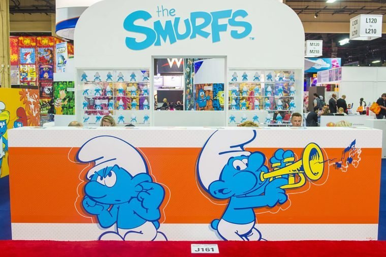 LAS VEGAS - JUNE 17 : The Smurfs booth at the Licensing Expo in Las Vegas , Nevada on June 17 2014. Licensing Expo is the licensing industry's largest annual event