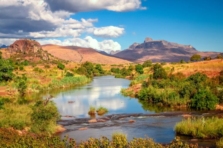 River flowing through countryside in Central Madagascar