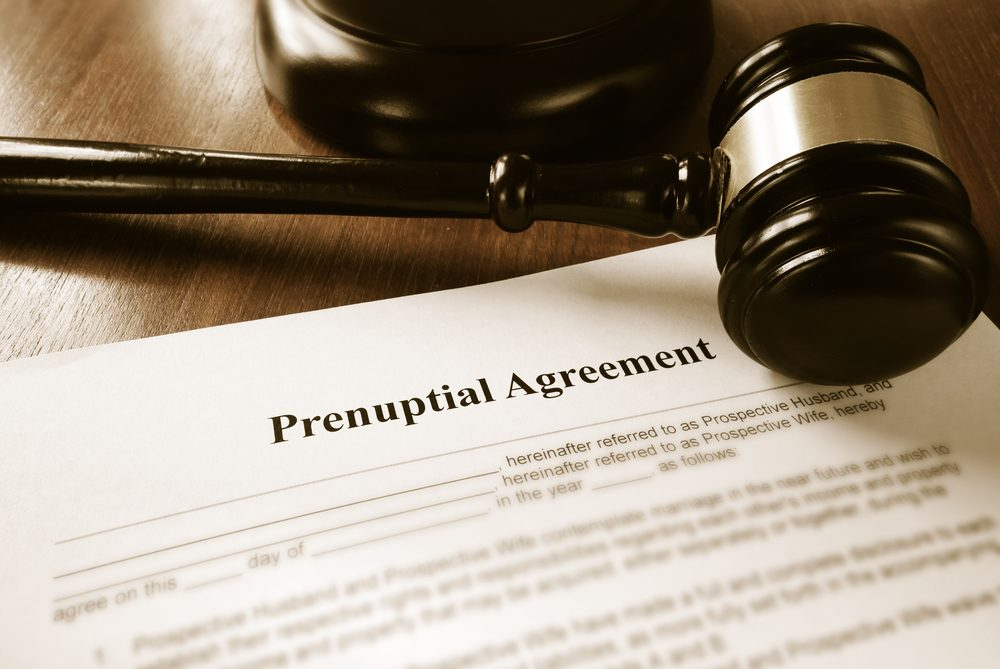 Prenuptial contract and court gavel