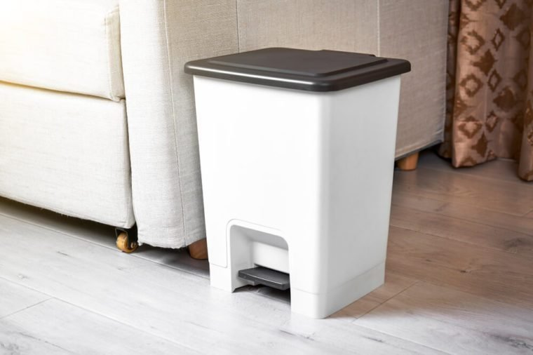Footbath bin in the interior sofa corner