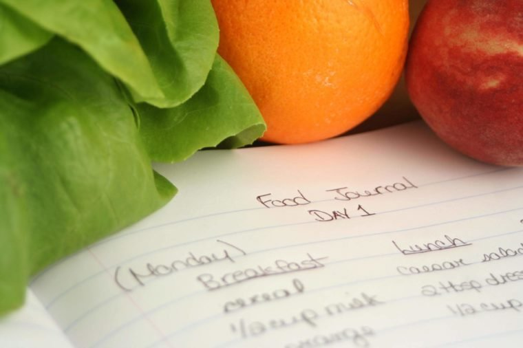 diary of food eaten throughout the day when on a diet (shallow DOF)
