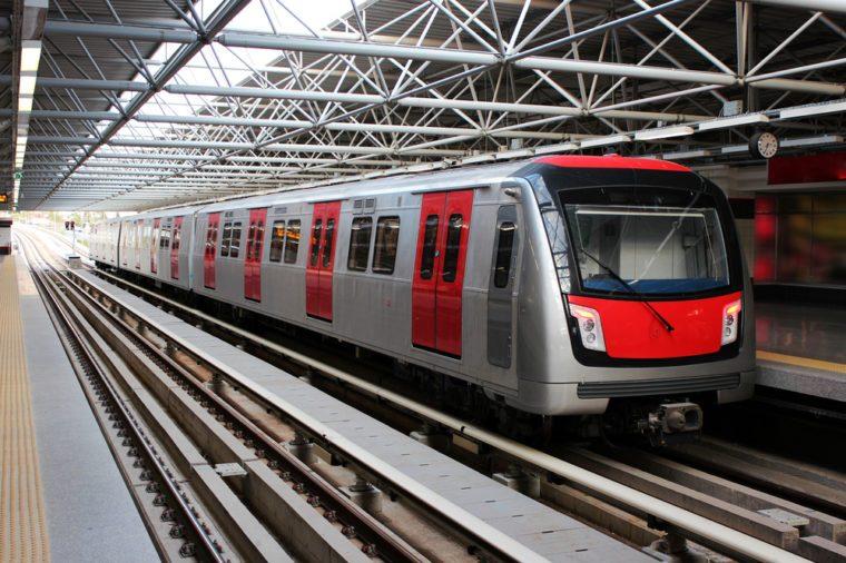 Metro train at the subway station