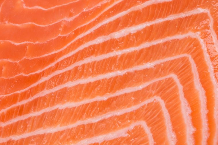 Close up of salmon fillet. Whole background.