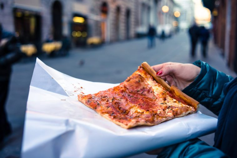 Freshly baked traditional savoury Italian pizza as a street food