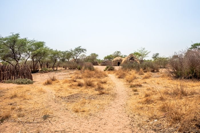 Kalahari, Botswana-October 16 2011. Bushmen village on October 16, 2011 in the Central Kalahari Game Reserve of Botswana.