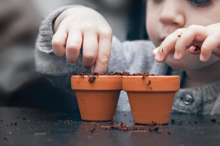 April fools pranks for kids. child fingers in potted dirt