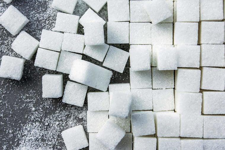 background of sugar cubes.Cube sugar background
