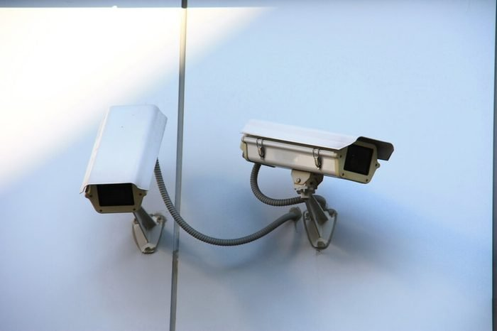 CCTV camera or surveillance installed on wall