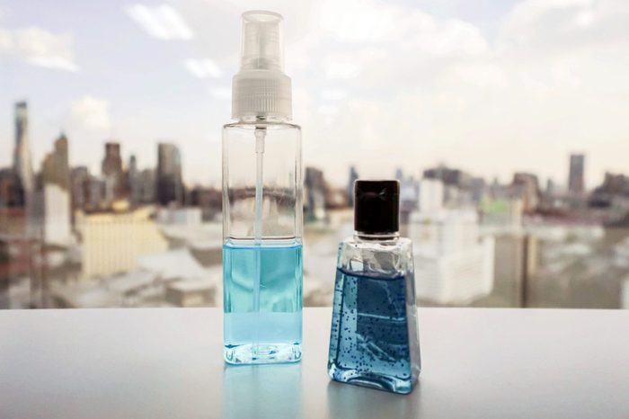 anti-bacterial hand gel on office desk