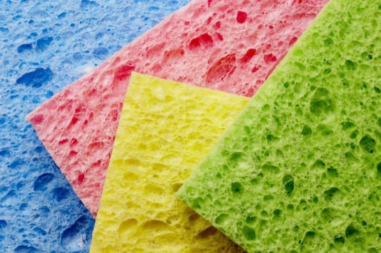 Macro shot of four colorful sponges