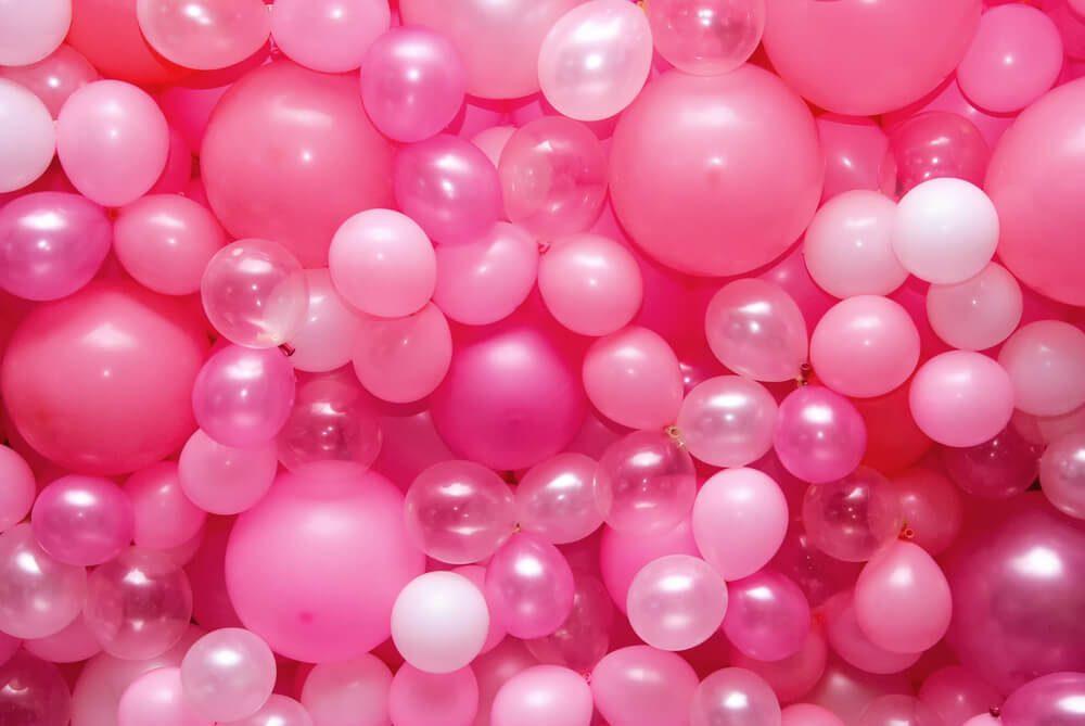 pink balloons. April fools pranks