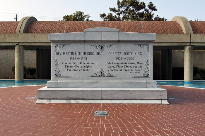 The graves of Martin Luther King, Jr. and Coretta Scott King at the Martin Luther King, Jr. National Historic Site in Atlanta, Georgia.