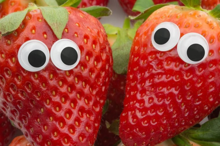 April fools pranks for kids. strawberries with eyes