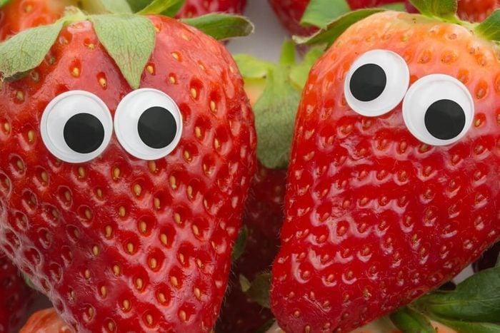 April fools pranks for kids. strawberries with eyes