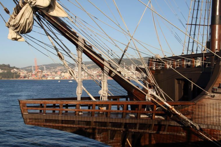 Spanish galleon of the 17th century in the port of Vigo city