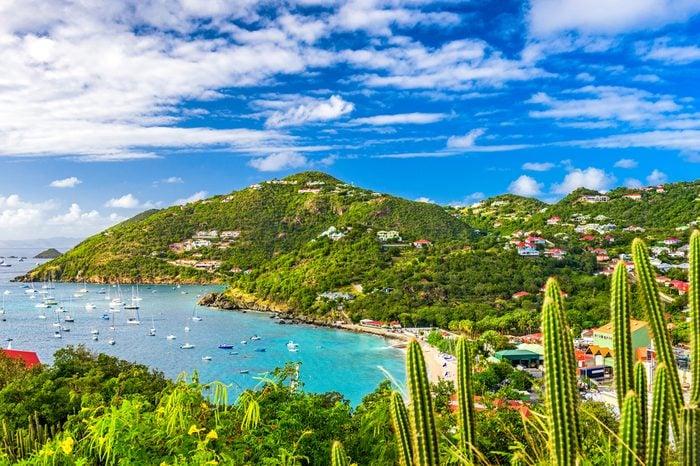 Gustavia, Saint Barthelemy skyline and harbor in the Caribbean.